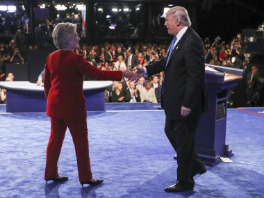 Democratic presidential nominee Hillary Clinton shakes hands with Republican presidential nominee Donald Trump. AP