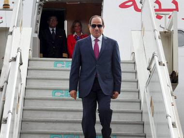 President of Egypt, Abdel Fattah el-Sisi, on his arrival in New Delhi on Thursday. PTI
