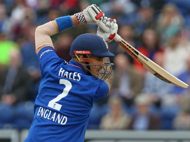 Alex Hales bats in the final ODI at Cardiff. AFP