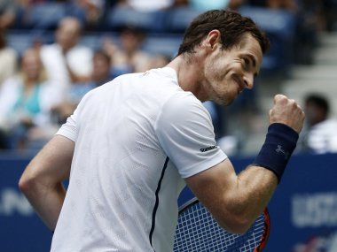 Andy Murray celebrates after winning a point against Paolo Lorenzi. AP