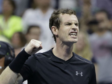 Andy Murray in action during his fourth-round clash against Grigor Dimitrov. AP