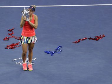 Angelique Kerber with her US Open trophy. AP
