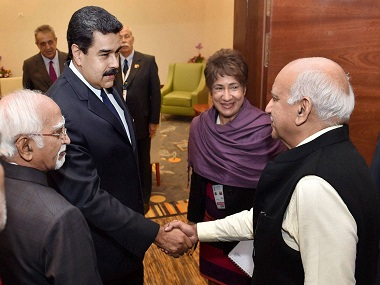 Vice President M Hamid Ansari with Venezuelan President Nicolas Maduro and Minister of State for External Affairs MJ Akbar. PTI