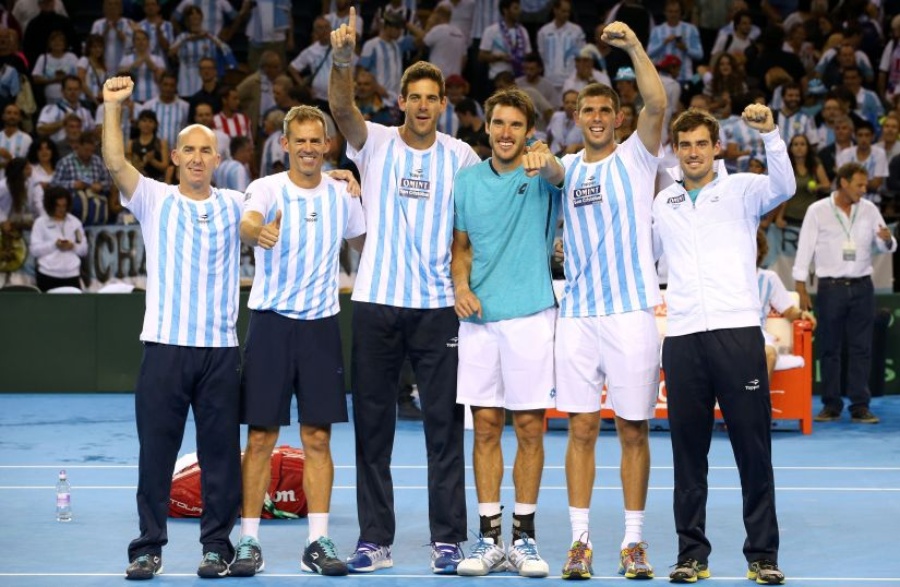 Argentina's Davis Cup team members celebrate victory over Great Britain. AP