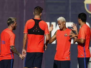 FC Barcelona's Neymar, Lionel Messi, and Luis Suarez during a training session. AP