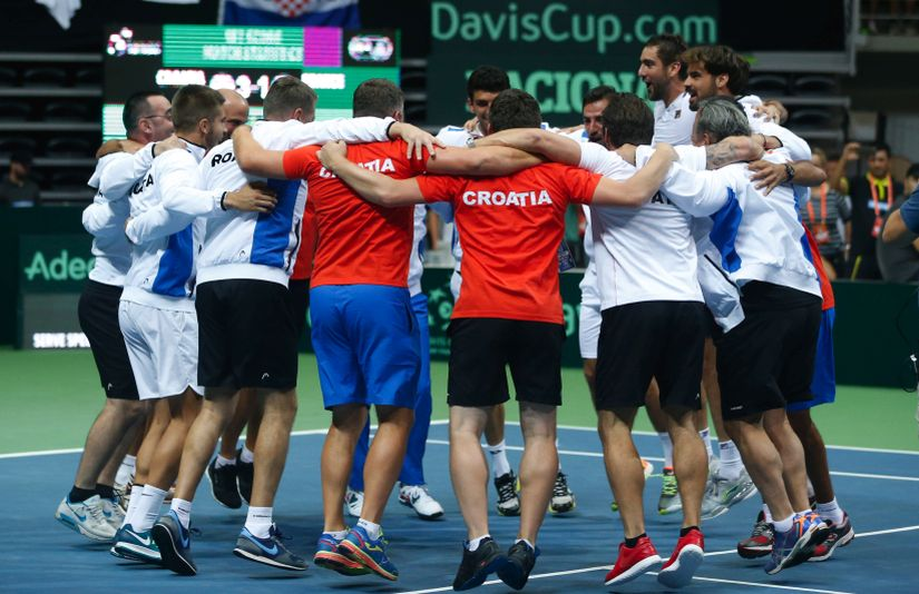 Croatia's Davis Cup team celebrates defeating France. AP