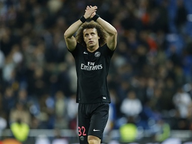 David Luiz waves to PSG supporters. File image. AP