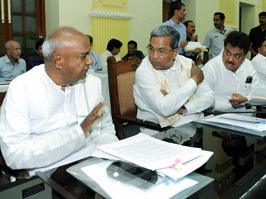 HD Deve Gowda and Siddaramaiah at an all-party meet on Cauvery Issue last Saturday. PTI