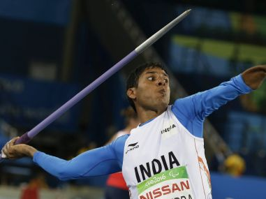 India's Devendra Jhajharia competes in the F46 javelin event at the Rio Paralympics 2016. AP