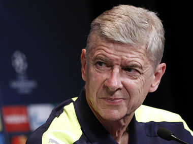 Arsenal head coach Arsene Wenger attends a press conference at the Parc des Princes stadium, ahead of Champions League clash with PSG. AP