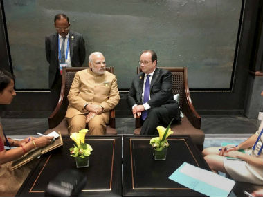PM Modi with French President Francois Hollande. PTI