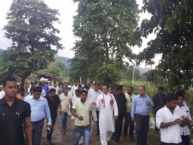 Kaliabar MP Gaurav Gogoi taking a tour of the area near Kaziranga National Park where an eviction drive was acrried out. Image courtesy Gaurav Gogoi's Facebook page