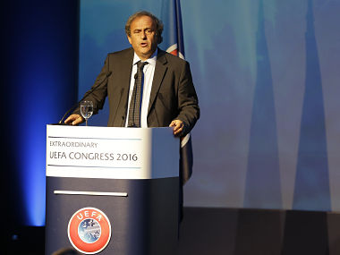 Former Uefa President Michel Platini delivers a speech in Athens. AP