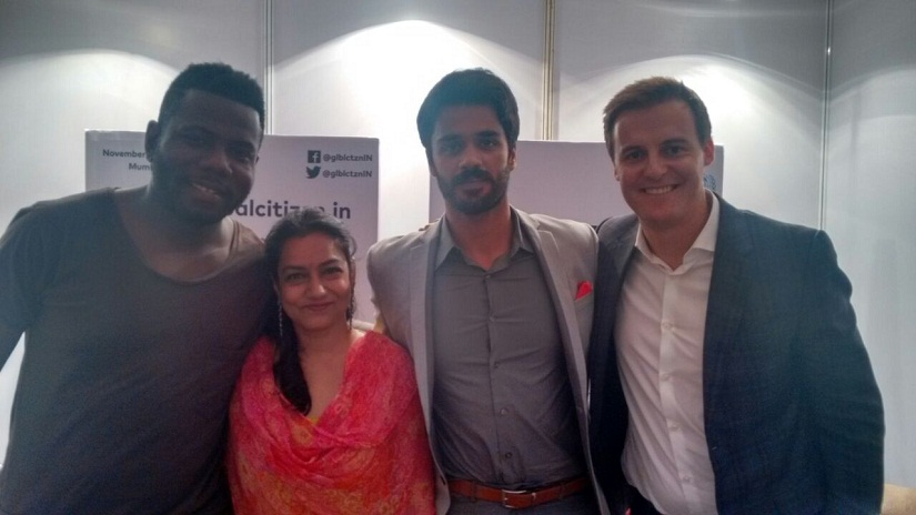 (From L to R) Global Citizens' Kweku Mandela, Swati Kumar, Bhavya Bishnoi and Hugh Evans