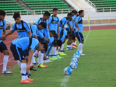 File photo of Indian football team in training. Image courtesy: Twitter/@AiffMedia