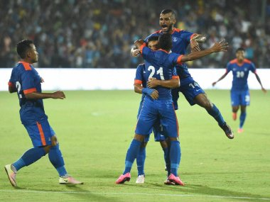 India celebrate scoring their first goal against Puerto Rico. PTI