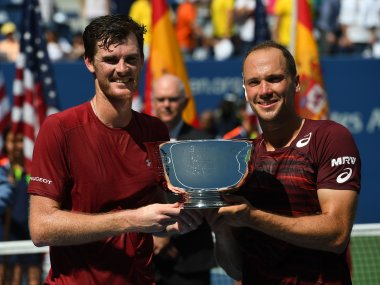 Jamie Murray and Bruno Soares with the US Open men's doubles trophy. Reuters