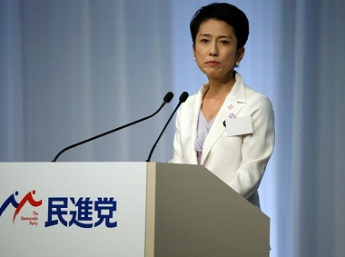 Japan's main opposition Democratic Party's new leader Renho delivers a speech after she was elected as the party leader during the party plenary meeting in Tokyo, Japan. Reuters