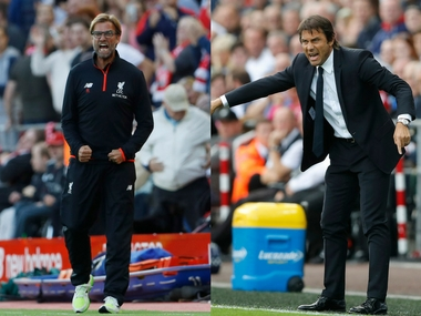 Managers Jurgen Klopp and Antonio Conte. Reuters