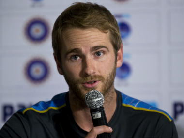Kane Williamson addresses journalists at a press interaction in New Delhi on Tuesday. AP
