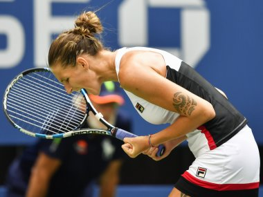 Karolina Pliskova celebrates after defeating Venus Williams at the US Open. AFP