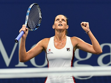 Karolina Pliskova of Czech Republic celebrates defeating Serena Williams. AP