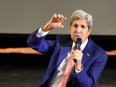 New Delhi : US Secretary of State John F. Kerry speaks during an interactive programme at IIT Delhi on Wednesday. PTI Photo by Vijay Verma (PTI8_31_2016_000118B)