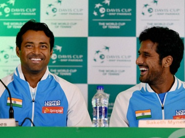 Leander Paes and Saketh Myneni address the media ahead of their Davis Cup tie against Spain. PTI