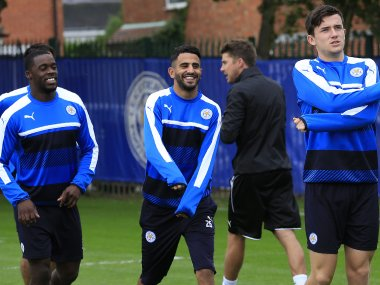 Riyad Mahrez and his teammates attends a training session at Leicester City's training ground. AFP