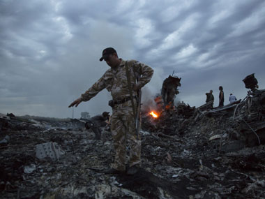 The site of the crash of MH17. AP