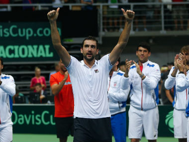 Marin Cilic celebrates after his victory over Richard Gasquet. AP