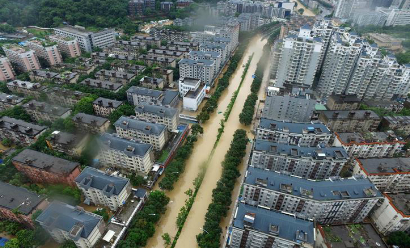 Flooding in China because of Typhoon 'Meranti'. Reuters