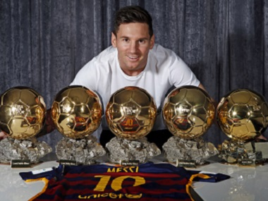 Barcelona striker Lionel Messi has won the ballon d'Or five times. AFP