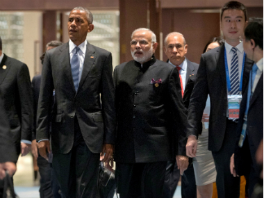 US President Barack Obama, and Prime Minister Narendra Modi at the G-20 Summit in Hangzhou on Sunday. Reuters