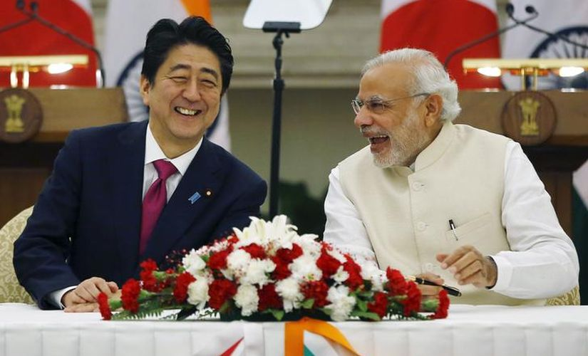 Japan's Prime Minister Shinzo Abe with Narendra Modi during his visit in 2015. Reuters