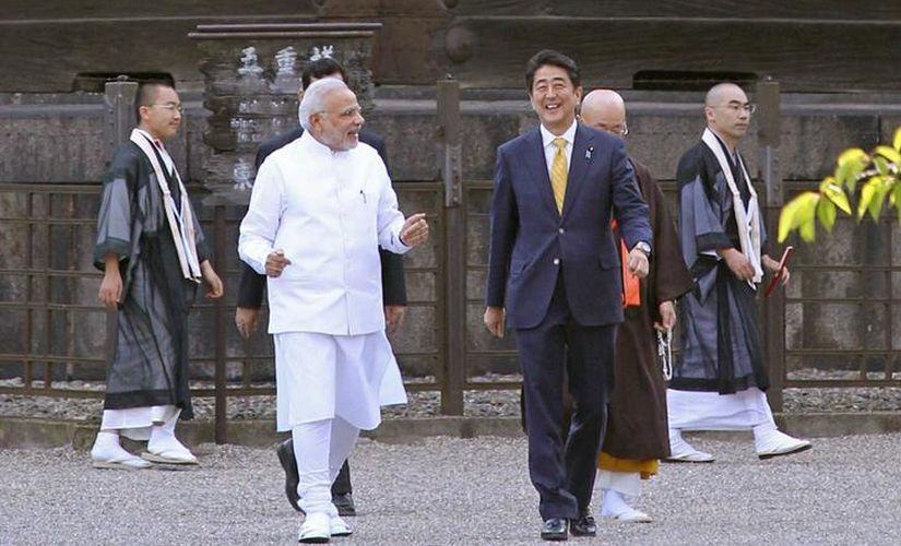 File image of India's Prime Minister Narendra Modi with Japanese counterpart Shinzo Abe. Reuters