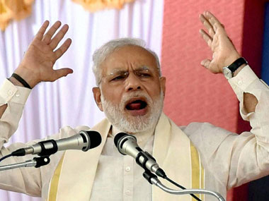 Prime Minister Narendra Modi  addressing public rally at the  BJP National council meeting at Kozhikode on Saturday. PTI