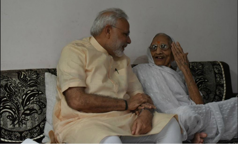 PM Modi visited his mother Hiraba on his 66th birthday on Saturday. Twitter@ narendramodi