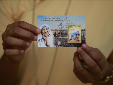 The commemorative postage stamp of Saint Teresa released after the canonisation ceremony. AP