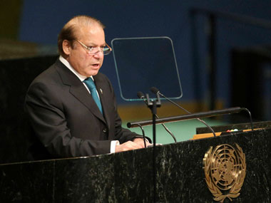 Pakistan Prime Minister Nawaz Sharif delivering his speech at the UNGA in New York on Wednesday. AP/PTI