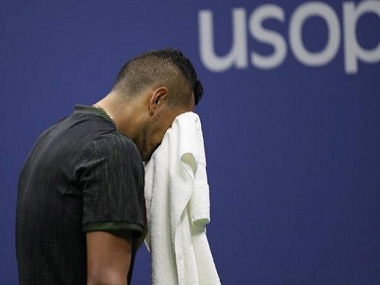 Nick Kyrgios of Australia reacts while battling an on-court injury during his US Open match against Ilya Marchenko. Reuters