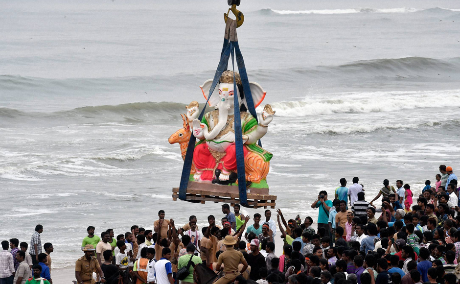 The immersion of Ganesh idols in water bodies was observed on Sunday in Chennai as devotees bid adieu to the elephant-headed god. Ganesh Chaturthi, also called Vinayaka Chaturthi was celebrated across Tamil Nadu with people performing prayers before clay idols of the elephant-headed god, which are then immersed in water bodies marking the conclusion of the festivities. PTI