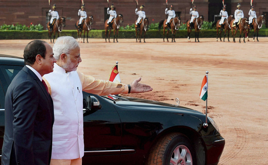 Egyptian President Abdel Fattah al-Sisi arrived in New Delhi on a three-day visit on 1 September and met Prime Minister Narendra Modi on the second day of his trip. He was also accorded a ceremonial welcome at Rashtrapati Bhavan in New Delhi. Photo: PTI