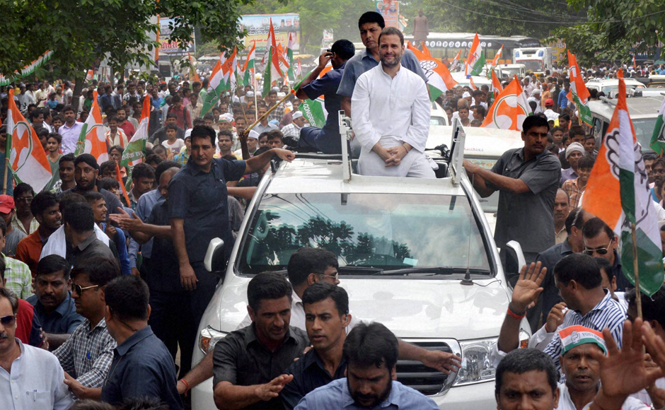 Congress vice-president Rahul Gandhi was in Basti, Uttar Pradesh on the third day of the 'Kisan Mahayatra'. PTI