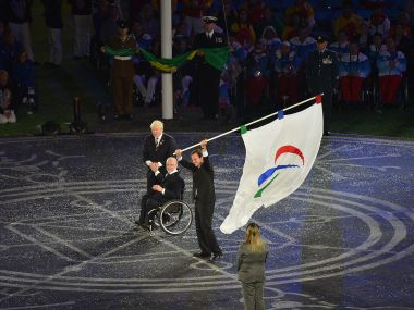 London Mayor Boris Johnson and president of the IPC Philip Craven and Mayor of Rio de Janeiro Eduardo Paes. AFP