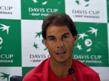 Spain's Rafael Nadal speaks during a press conference. AFP
