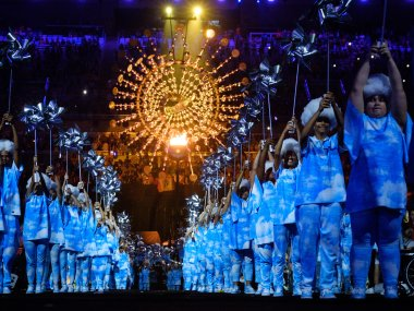 Dancers perform during the closing ceremony of the Rio 2016 Paralympic Games. AFP