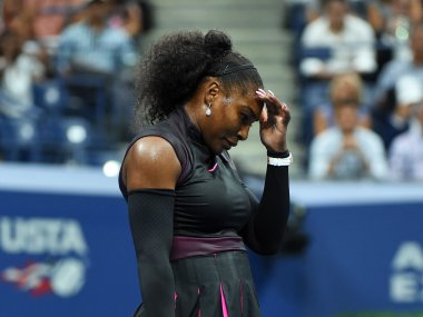Serena Williams reacts during her loss to Karolina Pliskova at the US Open. AFP