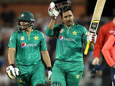 Pakistan's Sharjeel Khan and Khalid Latif during a T20I against England. AP