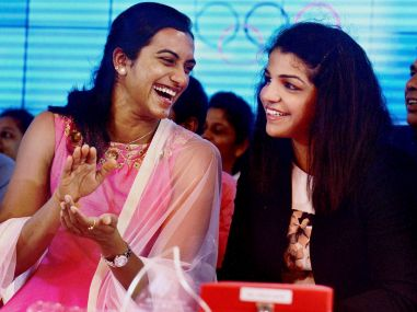 PV Sindhu and Saksi Malik in Thiruvananthapuram. PTI